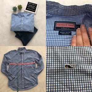 "🐳 Vineyard Vines ""Whale Shirt"" in blue gingham"